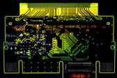 Glowing circuit board — 图库照片