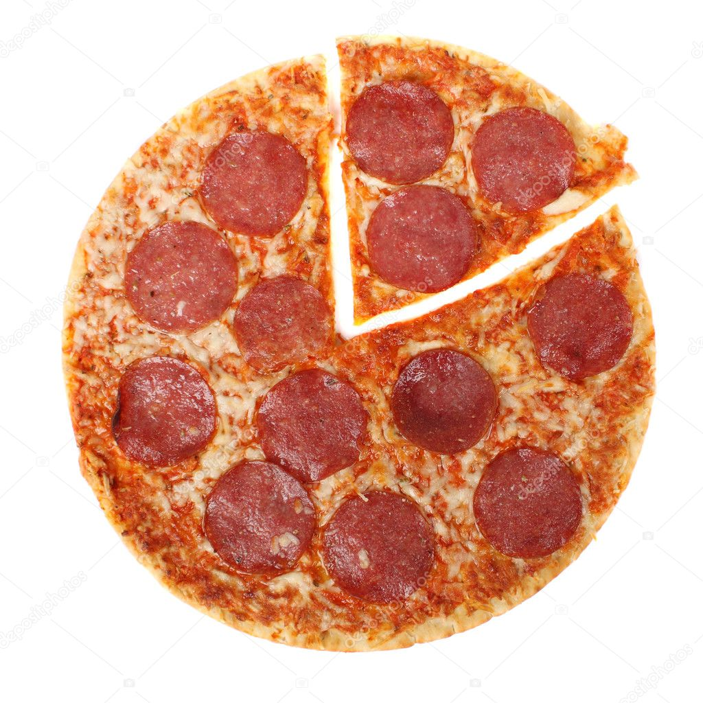 Pizza cheese, salami, red pepper tomato paste — Stock Photo #5022577