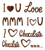 Chocolate collection of love letterings — Stock Vector