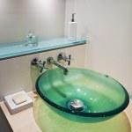 Glass bowl hand wash basin — Stock Photo