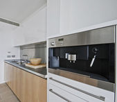 Cucina con costruito in macchina per il caffè — Foto Stock
