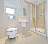 Bathroom with shower corner — Stock Photo
