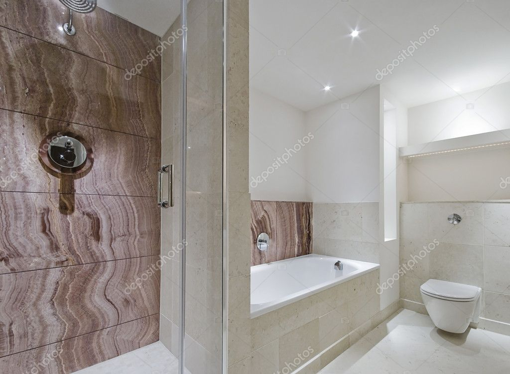 Contemporary Bathroom With Marble Details Stock Photo