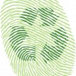 Recycle sign on fingerprint — Stock Vector