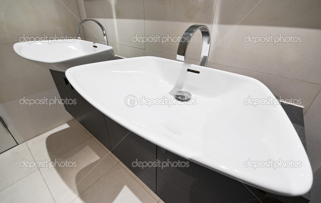 Designer bathroom detail with double hand wash basin   Photo by jrphoto. Double bathroom hand wash basin   Stock Photo   jrphoto  4917214