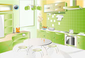 Kitchen room green modern — Stock Vector
