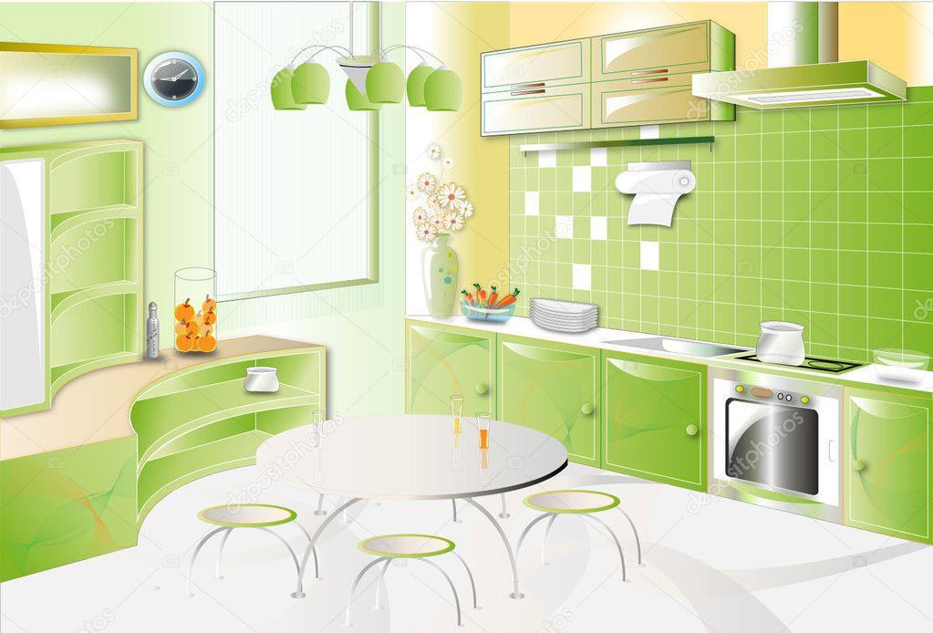 kitchen room green wallpaper - photo #43