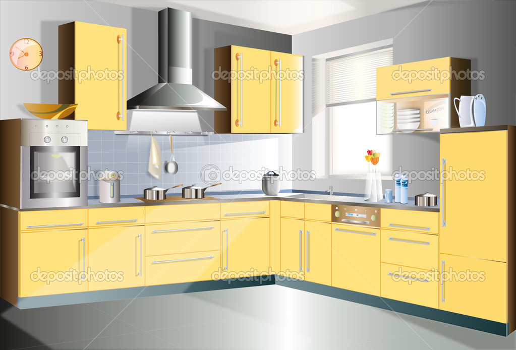 Kitchen in a yellow color to highlight a portion of the manual.  Stock Vector #4281696