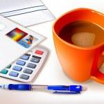 Orange cup of coffee — Stock Vector