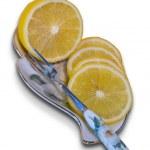 Лимон на тарелке — Stock Photo