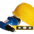 Stock Photo: Tools and helmet of builder, it is isolated on white