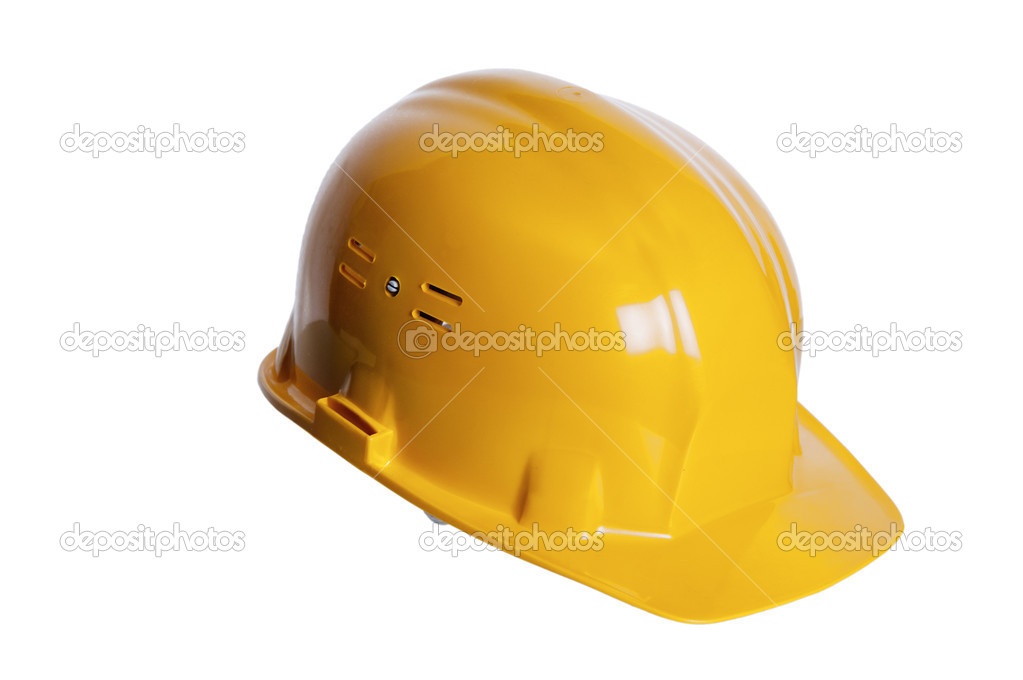 Yellow helmet of the builder on a white background  Stock Photo #4110769