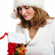 Portrait of the young woman with New Year's gifts, it is isolate — Stock Photo #4313587