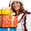 Portrait of the young woman with New Year's gifts, it is isolate — Stock Photo #4313590