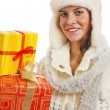 Portrait of the young woman with New Year's gifts, it is isolate — Stock Photo #4313599