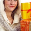 Portrait of the young woman with New Year's gifts, it is isolate — Stock Photo #4313600