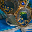 New Year's and Christmas ornaments and a carnival a mask — Stock fotografie