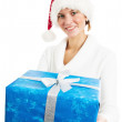 Portrait of the young woman with New Year's gifts, it is isolate — Stock Photo
