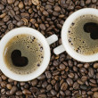 Stock Photo: Grains and cup from coffee, top vie