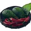 Stock Photo: Avocado and red peppers