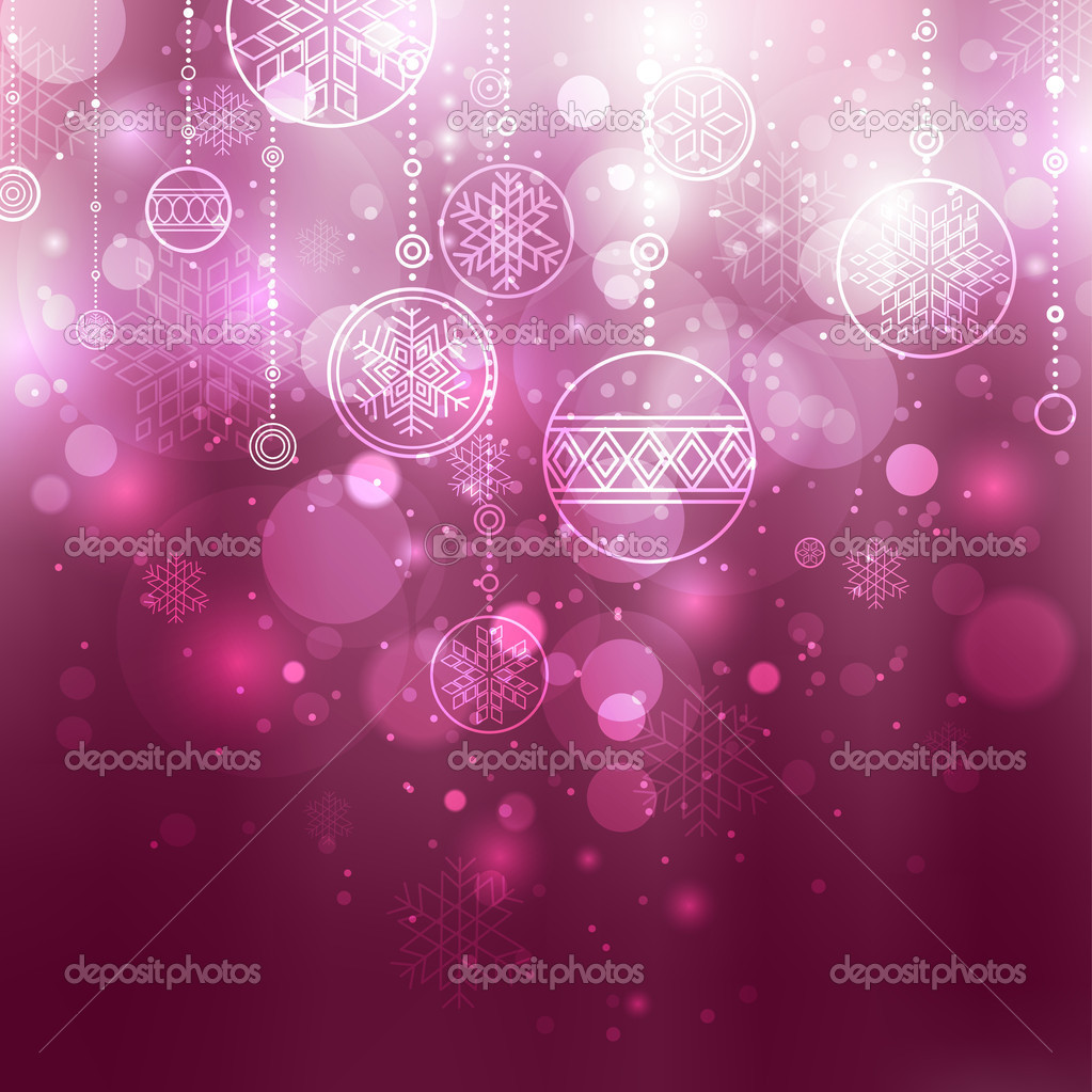 Shining lilac christmas background with baubles and snowflakes  Stock Vector #4219205