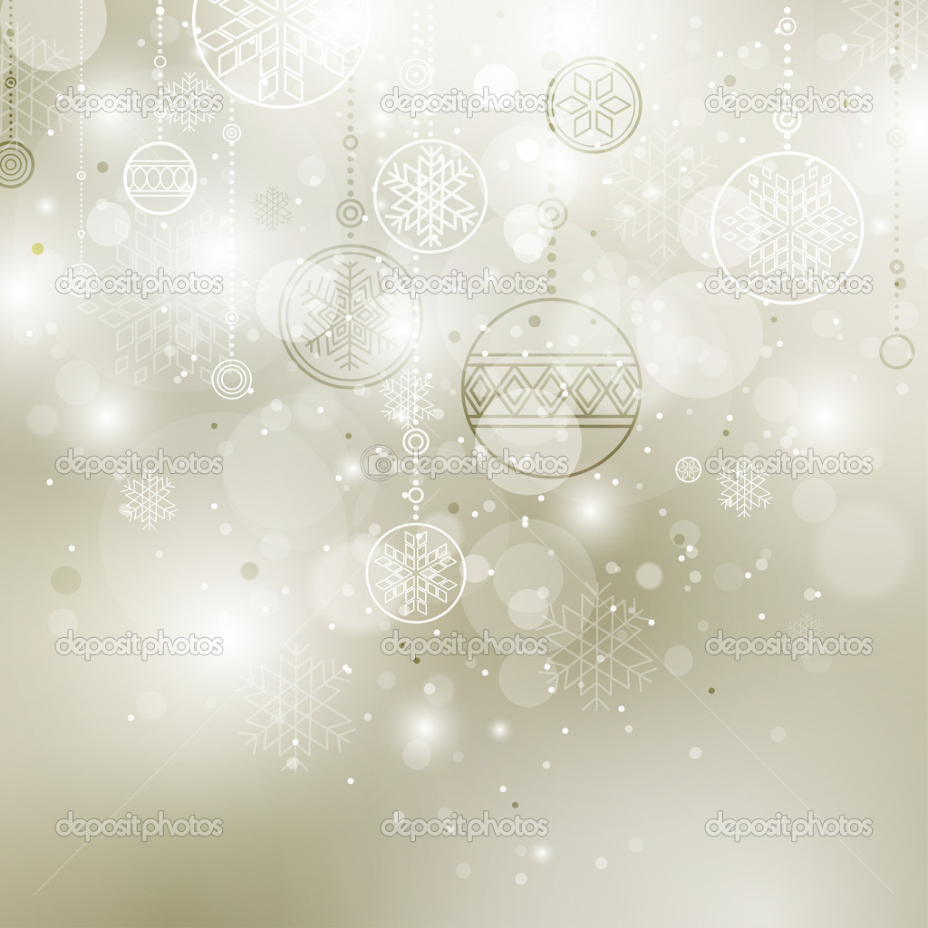 Shining christmas background with baubles and snowflakes — Imagen vectorial #4219211