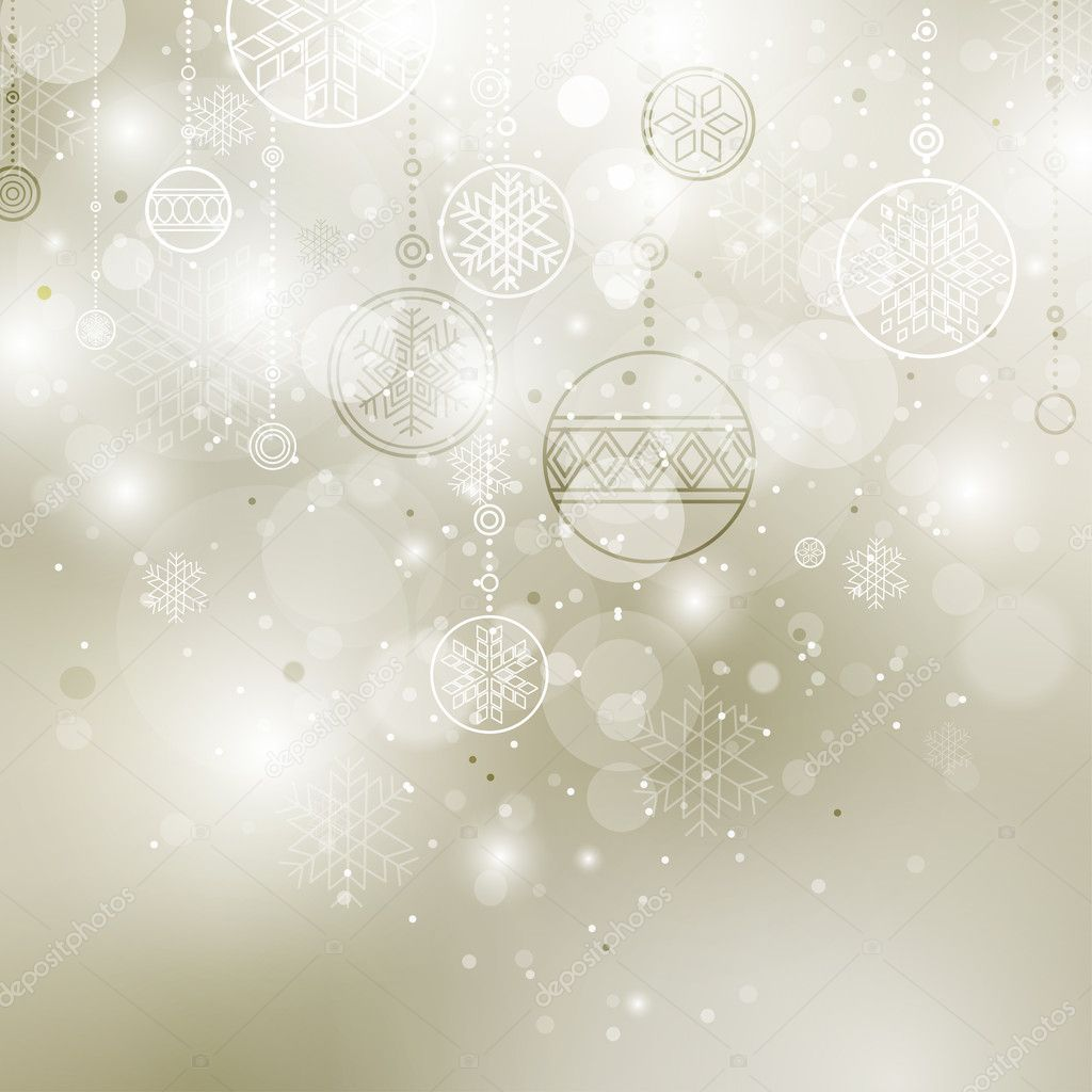 Shining christmas background with baubles and snowflakes  Stockvectorbeeld #4219211