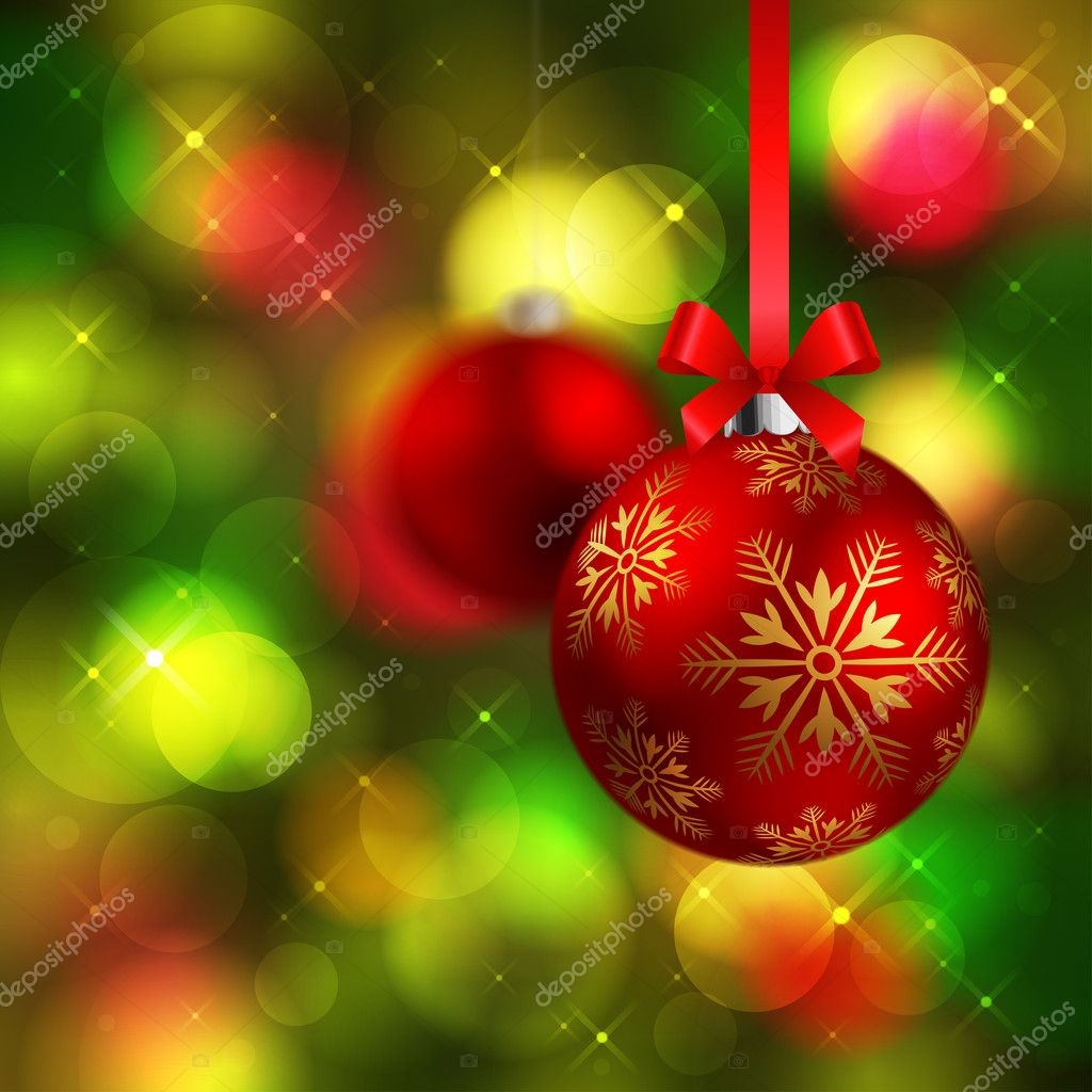 Christmas shining red baubles on green fir tree background  Stock Vector #4219262