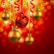 Christmas background with baubles — Imagen vectorial