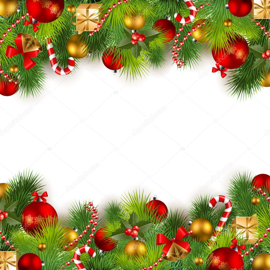 Christmas background with baubles and christmas tree — Stok Vektör #4285114