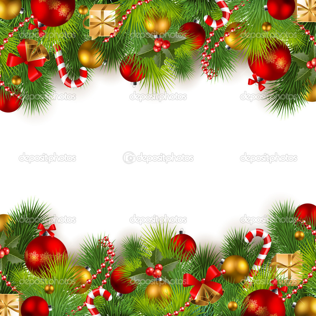 Christmas background with baubles and christmas tree — Stock Vector #4285114