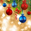 Christmas background with baubles — Vector de stock #4334831