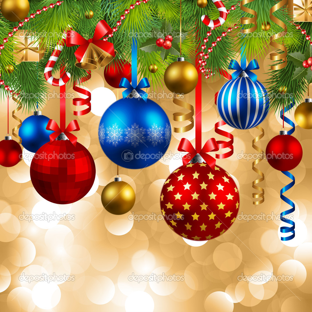 Christmas background with red, blue and golden baubles  Stock Vector #4334889