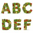 ABCDEF, vector christmas tree font — Stock Vector #4413270