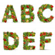 Royalty-Free Stock Vector Image: ABCDEF, vector christmas tree font