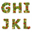 GHIJKL, vector christmas tree font — Stock Vector