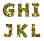 Ghijkl, fonte de árvore de natal de vetor — Vetor de Stock
