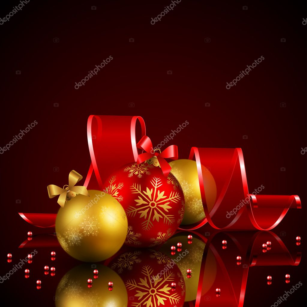 Christmas background with baubles and ribbon — Stock Vector #4467388
