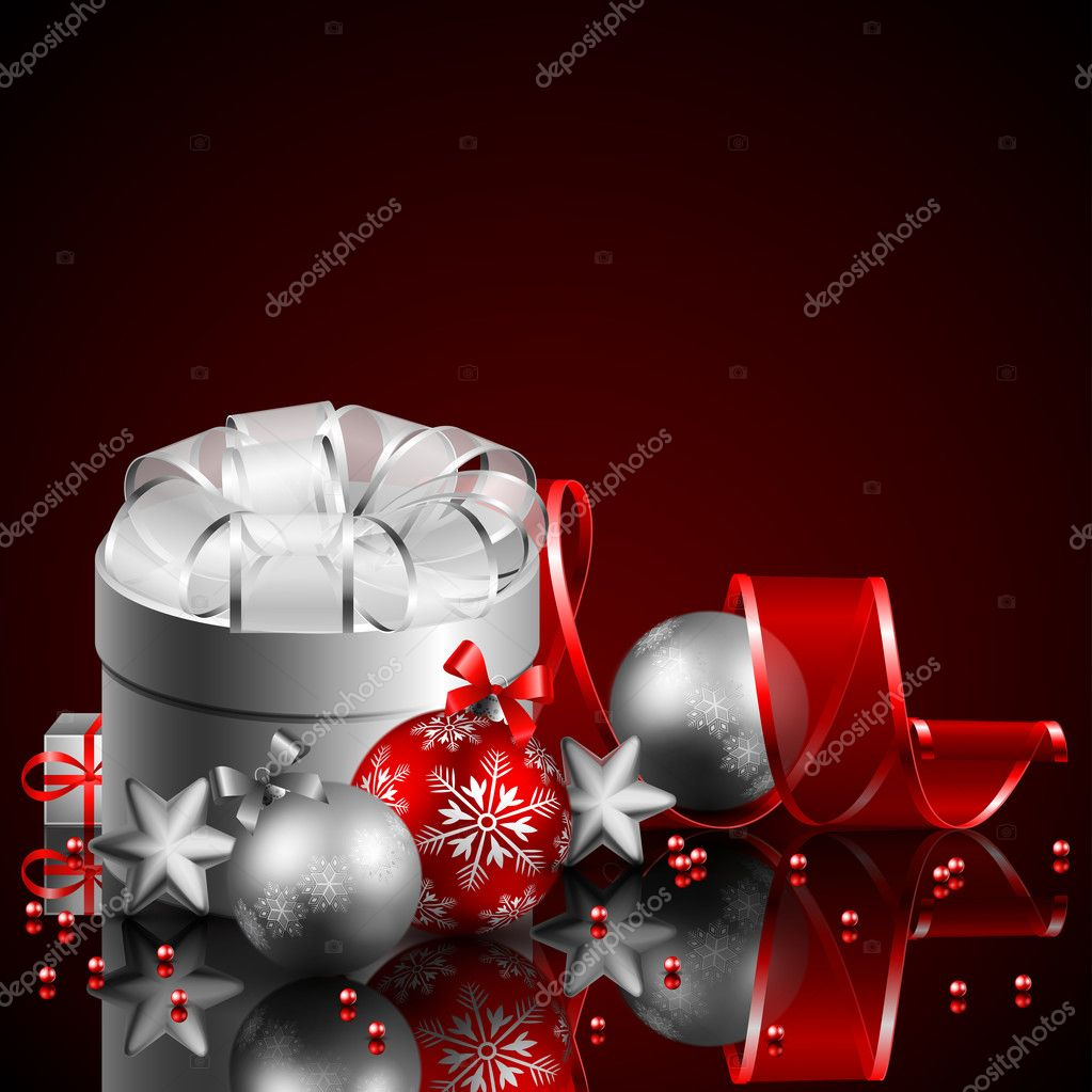 Christmas background with present and baubles — Stock Vector #4467402