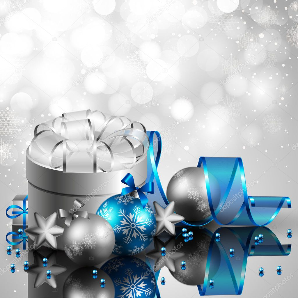 Beautiful silver and blue christmas background — Stock Vector #4491849