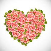 Coração de rosas — Vetor de Stock