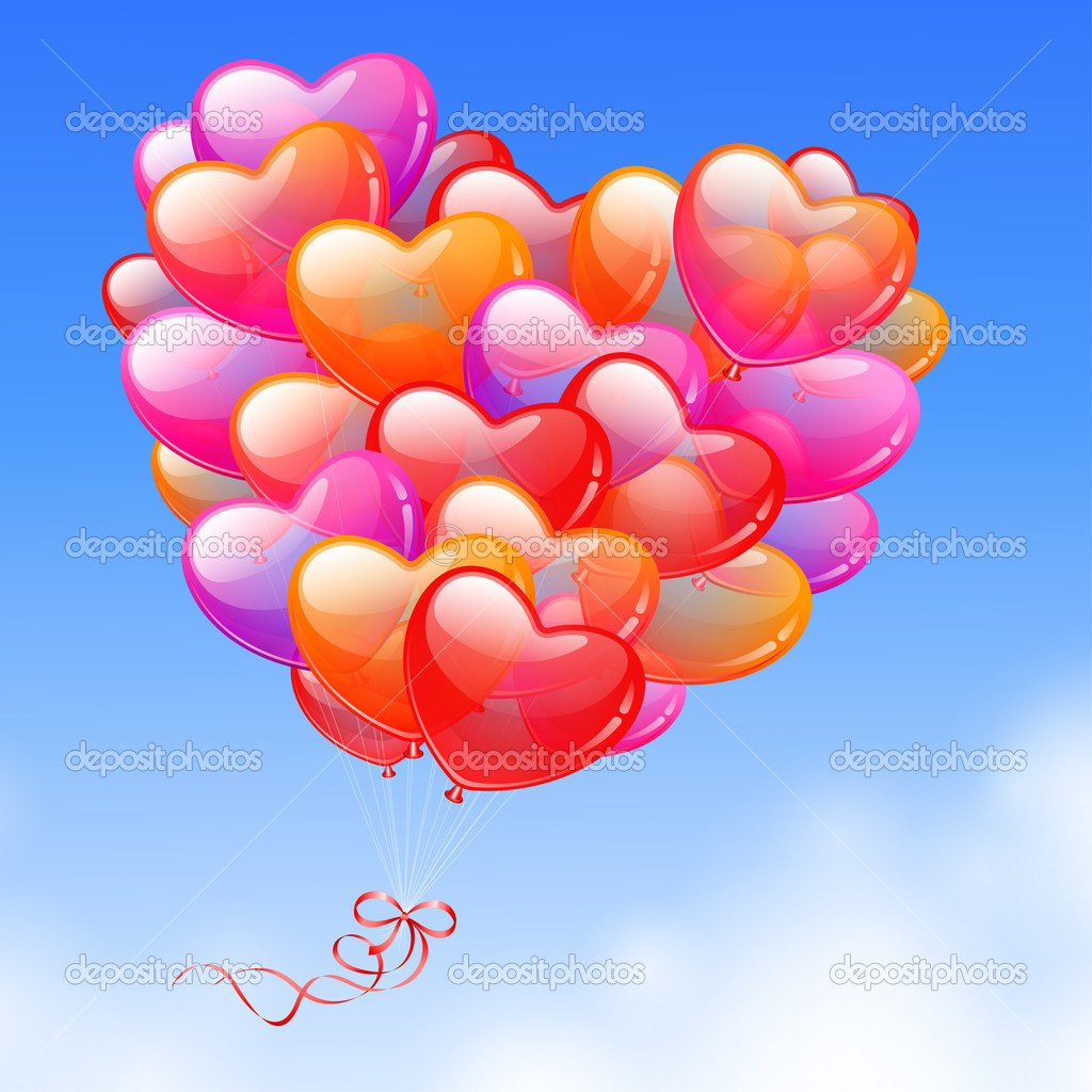 Colorful Heart Shaped Balloons in the sky — Stock Vector #4755984