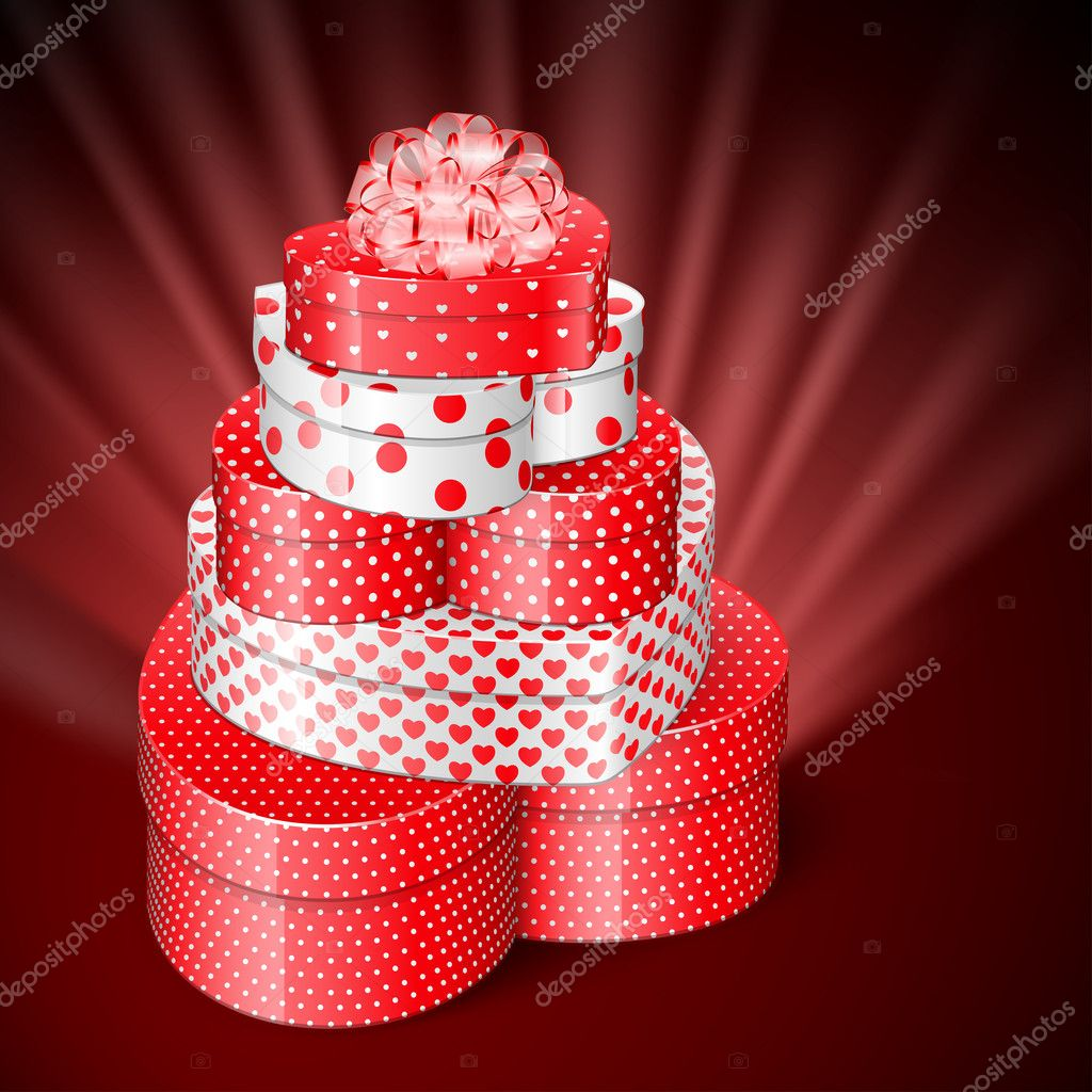 Pile of heart shaped gifts  Stock Vector #4775724