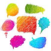 Colorido mano dibujado burbujas de discurso — Vector de stock