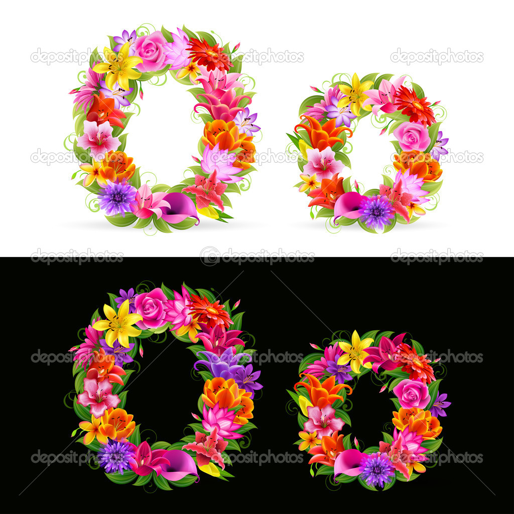 O, vector colorful flower font on white and black background. — Stock Vector #4813785