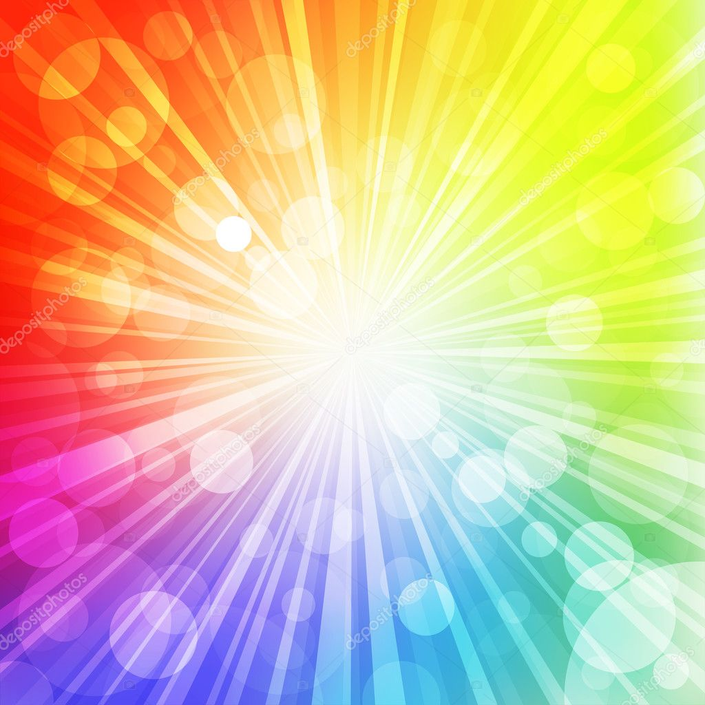 Sun with rays on rainbow  blurred background. Vector Illustration. — ベクター素材ストック #4847695