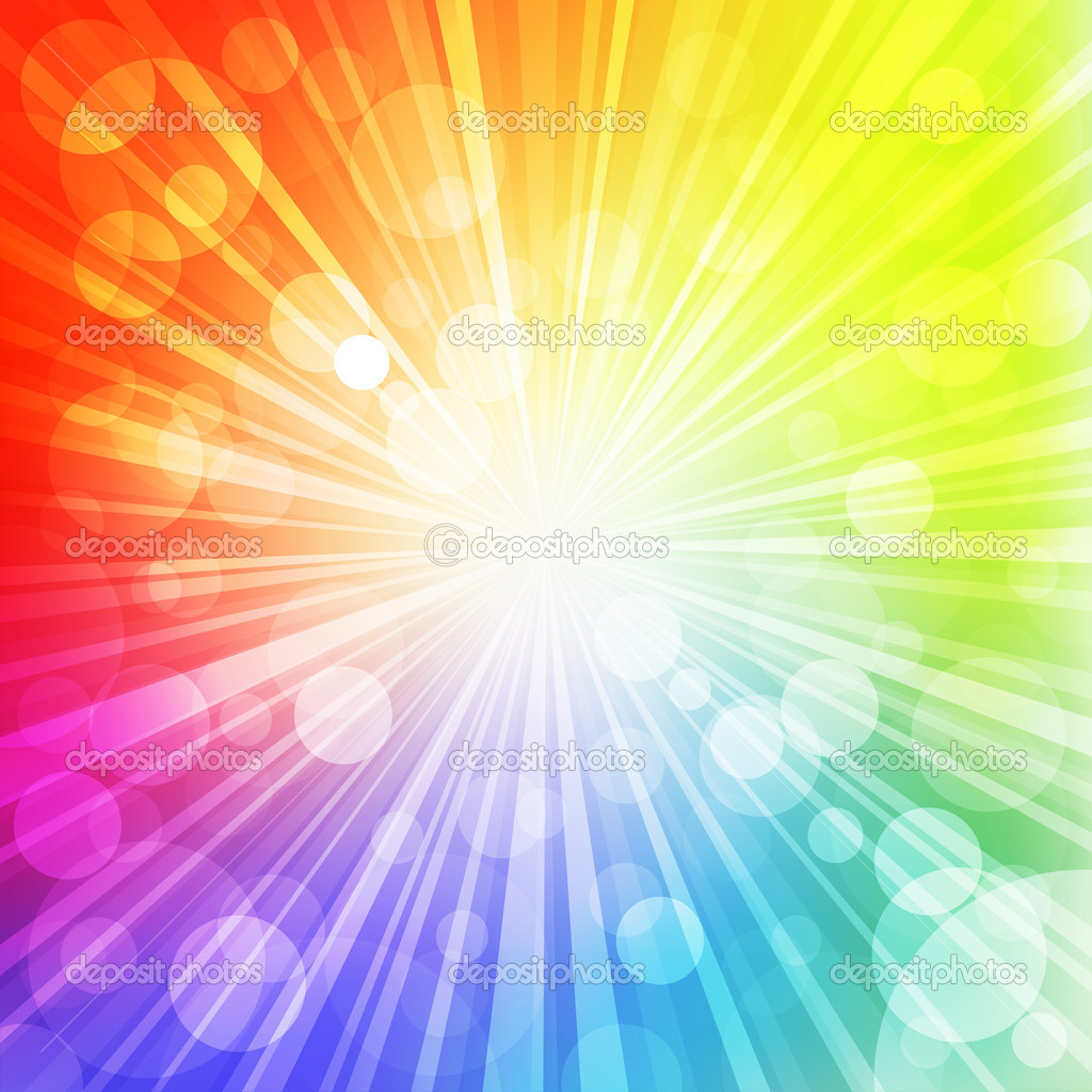 Sun with rays on rainbow  blurred background. Vector Illustration. — Imagens vectoriais em stock #4847695
