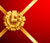Arco d'oro su sfondo rosso — Vettoriale Stock