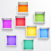 3d isolated Empty colorful bookshelf — Vecteur