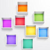 Estantería colorida vacío aislado 3d — Vector de stock